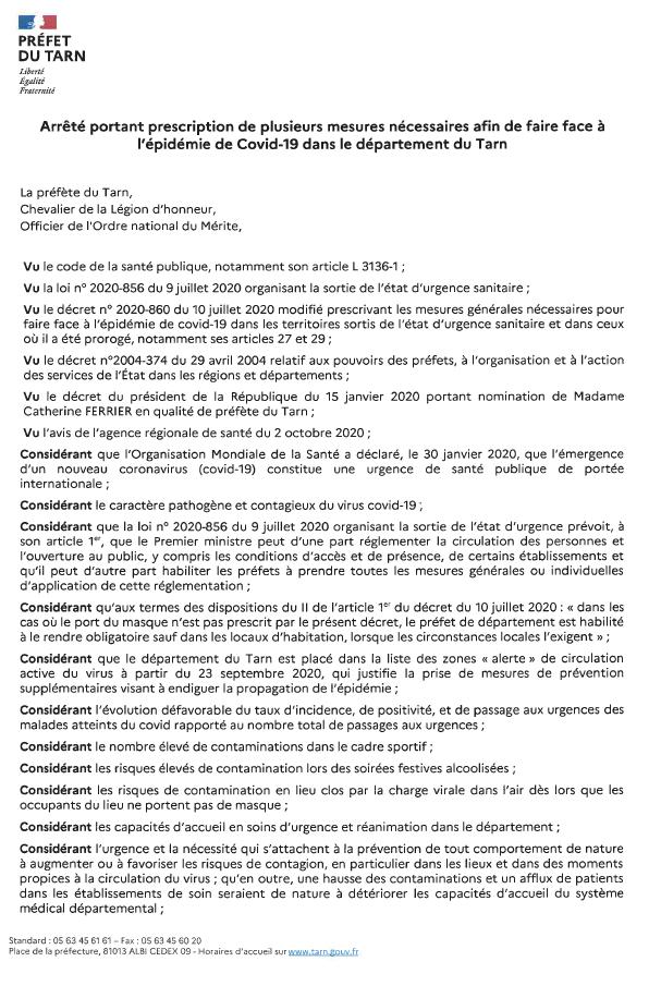 Arrêté préfectoral en date du 2 octobre 2020, portant prescription de mesures sanitaires.